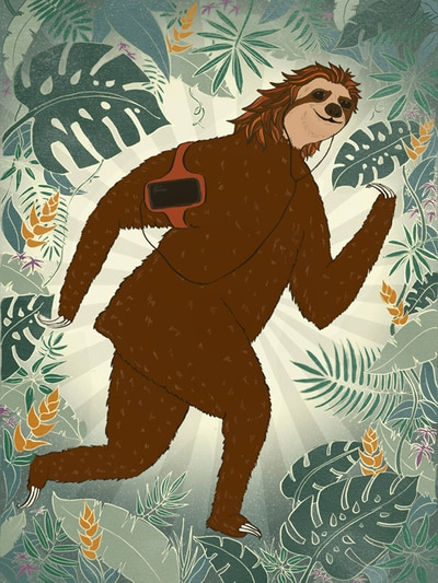 illustration sloth running
