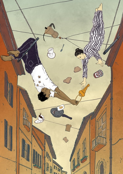 illustration airbnb breakfast trapeze