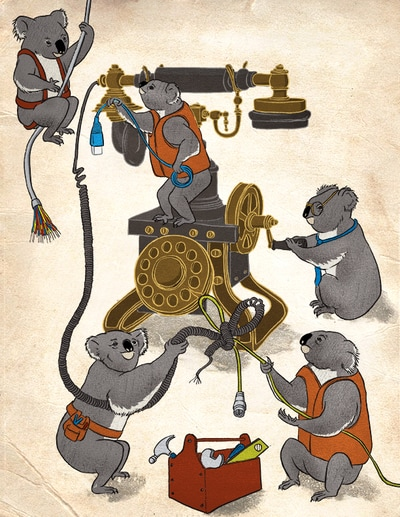 illustration koala cable old telephone