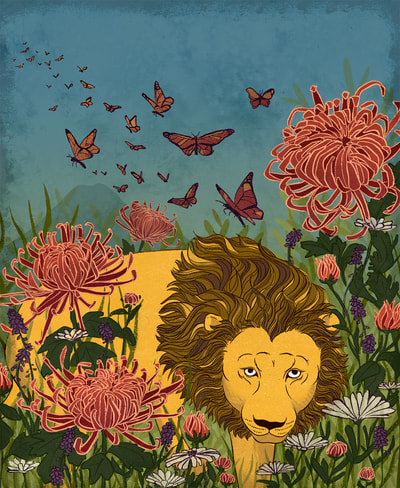 illustration lion chrysanthemum butterfly