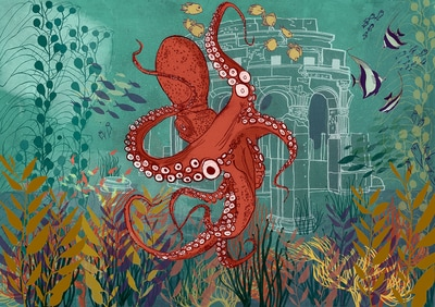 octopus illustration underwater tropical art