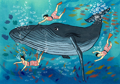 illustration whale underwater